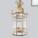 Chinese Style 6-Light Ceiling Pendant Golden Curvy Armed Chandelier with Metallic Shade