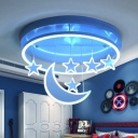 Blue/Pink/White Round Flush Mount Light Kids 16.5