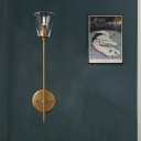 1/2 Bulbs Metallic Wallchiere Vintage Black/Brass Finish Pencil Arm Wall Lamp with Clear Tapered Glass Shade