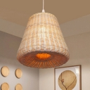 Cone Shade Rattan Pendant Lighting Asian Style 1 Light Handmade Ceiling Hanging Light in Wood
