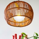 1 Light Global Pendant Lamp with Bamboo Handmade Shade Asian Brown Hanging Ceiling Light