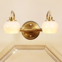 Curved Arm Vanity Sconce Modernism Metal 2/3 Heads Brass Wall Lamp Fixture with Globe Milky Glass Shade