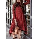 Basic Simply Women's Long Sleeve High Neck Plain Asymmetric Long Swing Dress