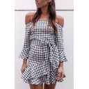 Cute Girls' Long Sleeve Off The Shoulder Plaid Print Bow-Tie Waist Ruffled Trim Mini Fitted Fishtail Dress in Black