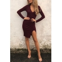 Sexy Elegant Ladies' Long Sleeve Deep V-Neck Split Side Plain Short Bodycon T-Shirt Dress