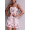 Cute Girls' Sleeveless Strapless Floral Patterned Patched Lace Zipper Back Pleated Short A-Line Party Tube Dress in Pink