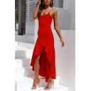 Sexy Trendy Ladies' Sleeveless Ruffled Trim Slit Side Plain Asymmetric Long Pleated Flowy Cami Dress