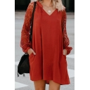 Casual Women's Long Sleeve V-Neck Sheer Mesh Patched Plain Short Swing Dress