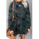 Street Cool Girls' Long Sleeve Crew Neck Leopard Print Bow Tie Waist Short A-Line T Shirt Dress