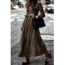 Elegant Girls' Long Sleeve Crew Neck Leopard Print Maxi Pleated Flowy Dress without Belt
