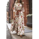 Fancy Women's Blouson Sleeve Round Neck Floral Print Maxi Pleated Flowy Dress in White