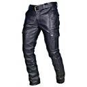 Mens Classic Black PU Buckle Waist Side Pocket Leisure Pants