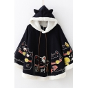 Girls Cute Cartoon Fortune Cat Print Fringe Drawstring Hood Thick Hooded Cape