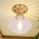 Colonial Dome/Cone/Barn Ceiling Light Fixture 1 Bulb Clear Glass Flush Mount Lighting in Brass, 6