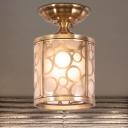 Colonialist Circle/Oval Ceiling Mounted Light 1 Bulb Opaline Glass Flush Mount Light Fixture in Brass
