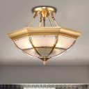 Frosted Glass Brass Ceiling Flush Bowl 4 Heads Colonialist Semi Flush Mount Chandelier for Living Room, 16