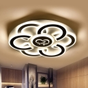 Metallic Floral LED Flush Mount Light Contemporary Black and White Close to Ceiling Lamp