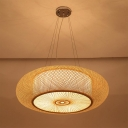 Natural Wood Handwoven Pendant Lamp 3 Lights 18