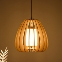 Nordic Caged Pendant Lighting with Fabric Shade 1 Light 12