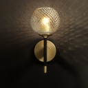 Ribbed Glass Sphere Wall Sconce Simplicity 1 Bulb Brass Wall Mounted Light Fixture