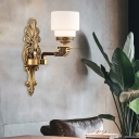 Drum Living Room Wall Sconce Vintage Stylish Milk Glass 1/2-Light Brass Finish Wall Lighting Fixture