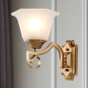 Modern Style Floral Wall Light Sconce 1/2-Light Frosted Glass and Metal Wall Mount Lamp in Gold