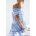 Blue Cute Girls' Puff Sleeve Off The Shoulder Plaid Patterned Patched Ruffled Trim Short Swing Dress for Party