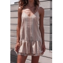 Beach Cute Girls' Sleeveless V-Neck Stripe Print Ruffled Trim Tiered Pink Mini A-Line Cami Dress
