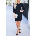 Formal Elegant Ladies' Long Sleeve Crew Neck Scalloped Mini Sheath Dress in Black