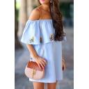 Girls' Cute Short Sleeve Off The Shoulder Floral Print Ruffled Trim Mini Swing Dress in Blue