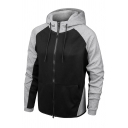 Mens Sport Fashion Colorblocked Long Sleeve Zip Up Active Cotton Hoodie