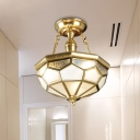 Frosted Glass Bowl Ceiling Lighting Colonial 3/4 Heads Dining Room Semi Flush Mount in Brass, 13