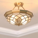 4-Light Bubble Glass Semi Flush Colonialist Brass Bowl Dining Room Close to Ceiling Lighting