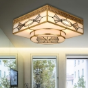 Square Flush Mount Light Modern Frosted Glass Gold LED Ceiling Light Fixture