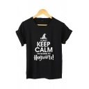 Funny Letter I CAN'T KEEP CALM IM GOING TO HOGWARTS Short Sleeves Cotton Summer Tee