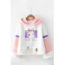 Cute Rabbit Radish TRAFFIC POLICE Print Plush Patched Long Sleeve Color Block Hoodie