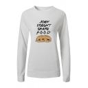 Womens Chic JOEY DOESNT SHARE FOOD Hamburger Print Long-Sleeved Pullover Sweatshirt