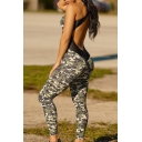 Cool Sexy Girls' Sleeveless Scoop Neck Camo Print Contrasted Hollow Back Stretchy Long Skinny Tank Jumpsuit in Green