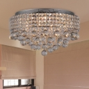 Cascading Crystal Flushmount Light Modern 9 Lights Nickel Flush Mount Ceiling Light Fixture