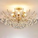 Cascade Crystal Ball Semi Flush Light Modern Chrome/Gold/Cognac LED Ceiling Light Fixture for Living Room