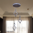 Crystal Spiral Cluster Pendant Light Contemporary LED Hanging Lamp Kit in Nickel for Living Room, Warm/White Light
