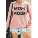 Womens Popular MOM MODE Letter Printed Long Sleeve Pullover Sweatshirt in Pink