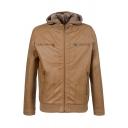 Mens Winter Fashionable Long Sleeve Zipper Placket Casual Detachable Hooded PU Jacket