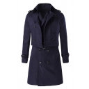 Mens Lightweight Solid Long Sleeve Cropped Trench Coat and Double Breasted Belted Longline Vest Casual Two-Piece Set