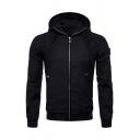 Mens Casual Plain Black Long Sleeve Zip Up Slim Fit Outdoor Sports Jacket Coat