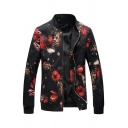 Mens Simple Floral Pattern Black Long Sleeve Zip Up Stand Collar Casual Jacket Coat