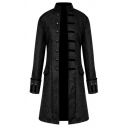 Mens Steampunk Plain Floral Print Stand Collar Single Breasted Flap Pocket Longline Uniform Coat