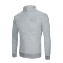 Mens Chic Embroidery Pattern Chest Long Sleeve Zip Placket Solid Color Fitted Woolen Jacket