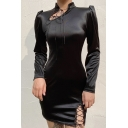Lady's Black Puff Long Sleeve Lace-Up Side Split Lace Patch Chirpaur Retro Mini Dress