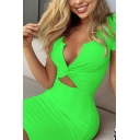 Womens Sexy Plunge V Neck Twisted Cutout Front Short Sleeve Plain Night Club Mini Sheath Dress